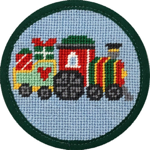 Round Ornament Needlepoint Kits-Needlepoint Canvas-Alice Peterson-Christmas Train-KC Needlepoint