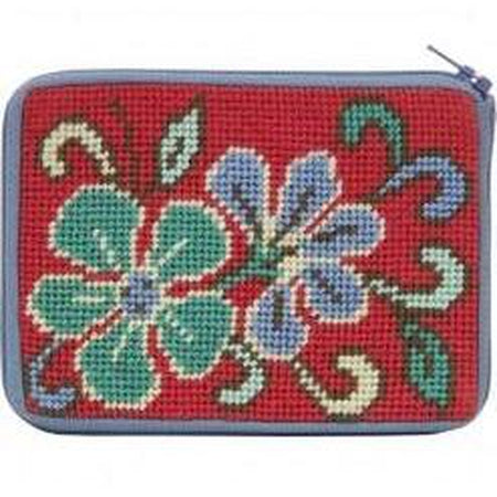 Red Asian Floral Coin Purse Kit - needlepoint
