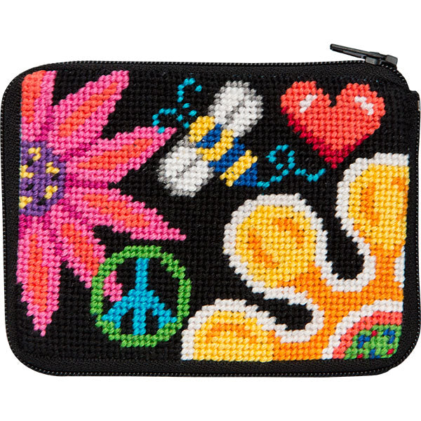 Fun Floral Coin Purse Kit - needlepoint