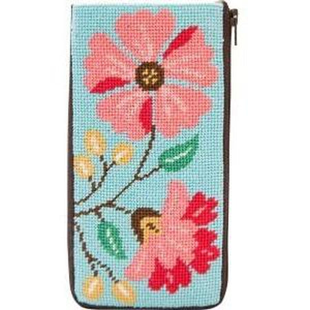 Pink Flowers Eyeglass Case Kit - needlepoint