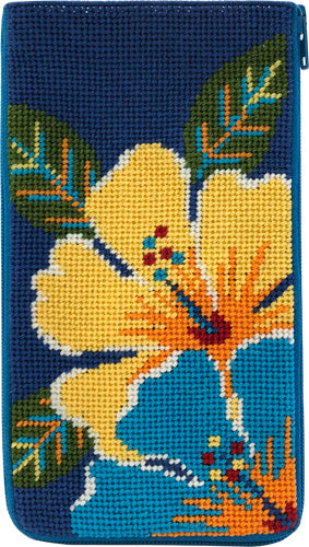 Bright Hibiscus Eyeglass Case Kit - needlepoint