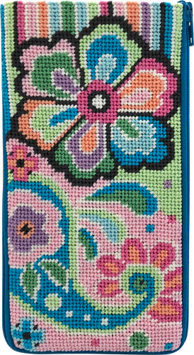 Pastel Floral Paisley Eyeglass Case Kit-Needlepoint Canvas-Alice Peterson-KC Needlepoint