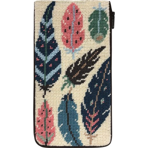 Feathers Eyeglass Case Kit-Needlepoint Canvas-Alice Peterson-KC Needlepoint