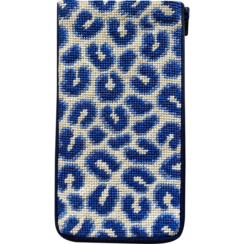 Navy Leopard Eyeglass Case Kit - needlepoint