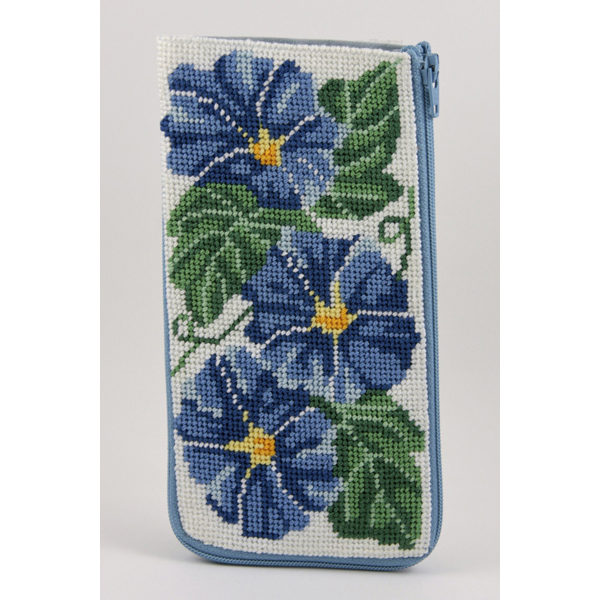 Morning Glories Eyeglass Case Kit-Needlepoint Canvas-Alice Peterson-KC Needlepoint