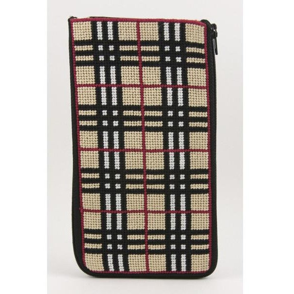Plaid Eyeglass Case Kit - needlepoint