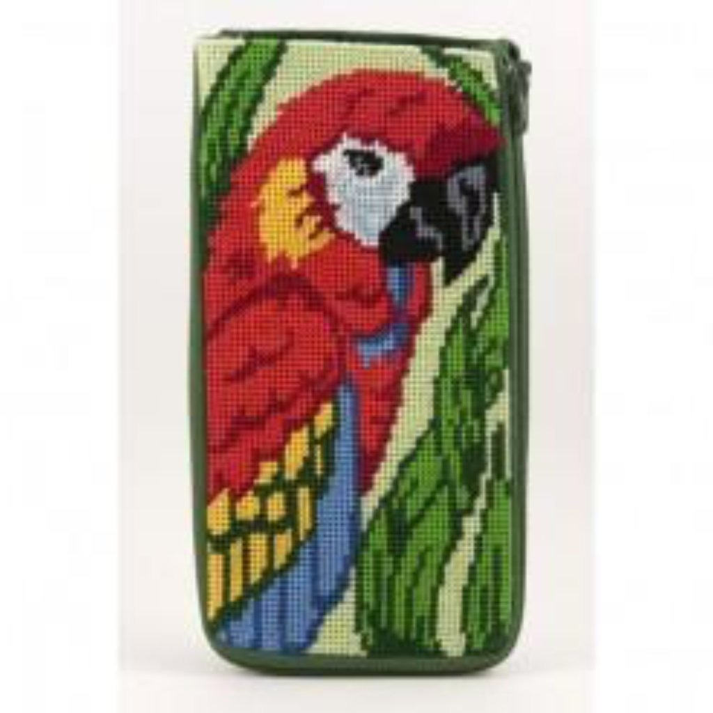Parrot Eyeglass Case Kit - needlepoint