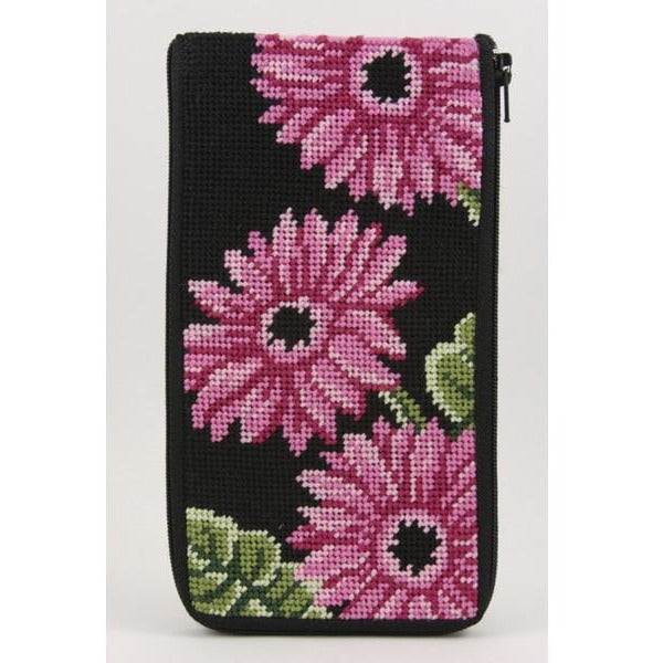 Pink Gerber Daisies Eyeglass Case Kit - needlepoint