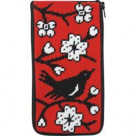 Blackbird Eyeglass Case-Needlepoint Canvas-Alice Peterson-KC Needlepoint