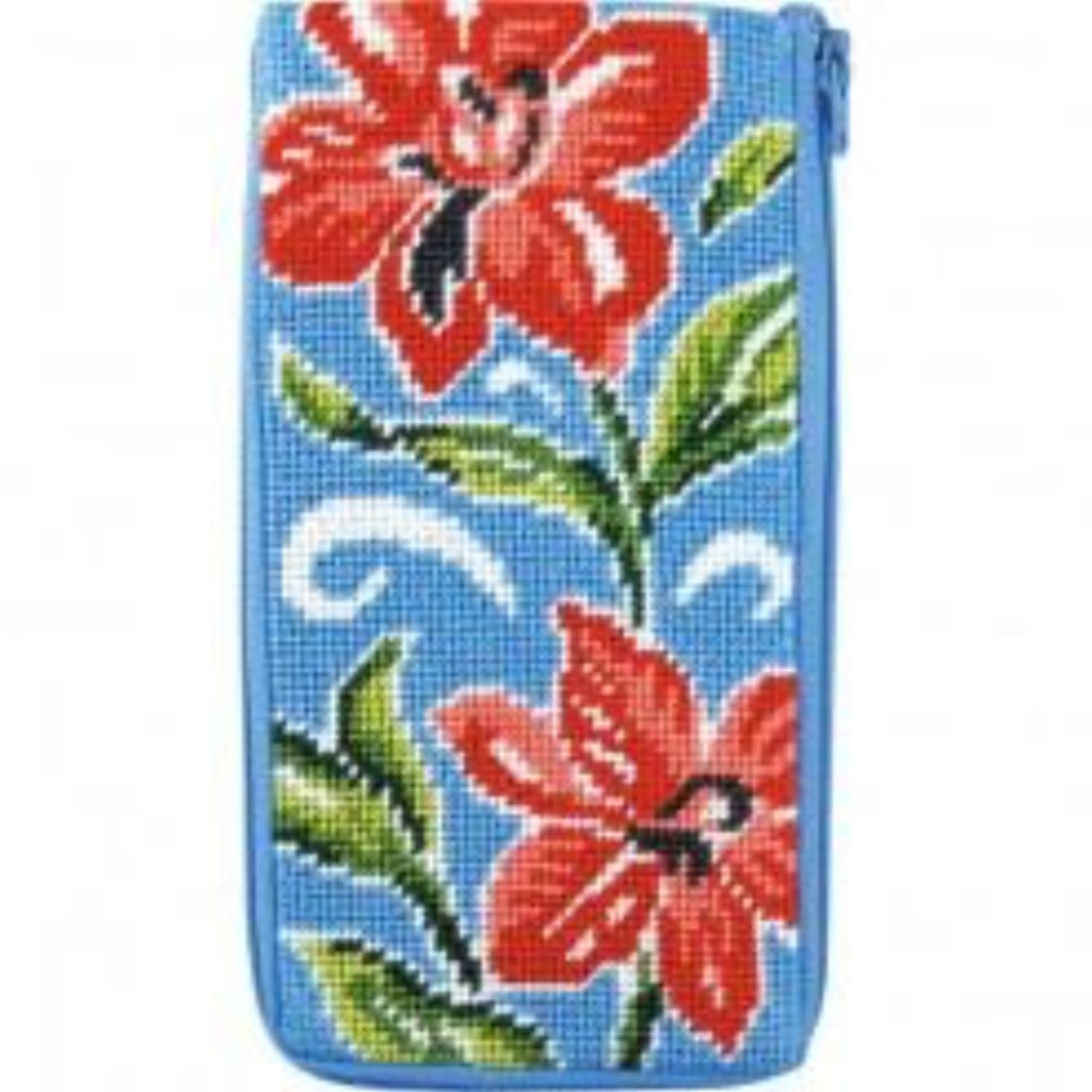 Red Floral Eyeglass Case Kit - needlepoint
