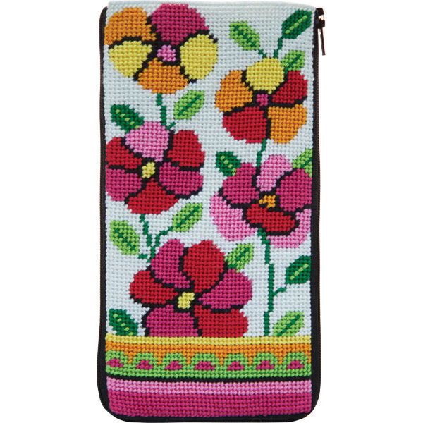 Pink & Orange Poppies Eyeglass Case Kit-Alice Peterson-KC Needlepoint