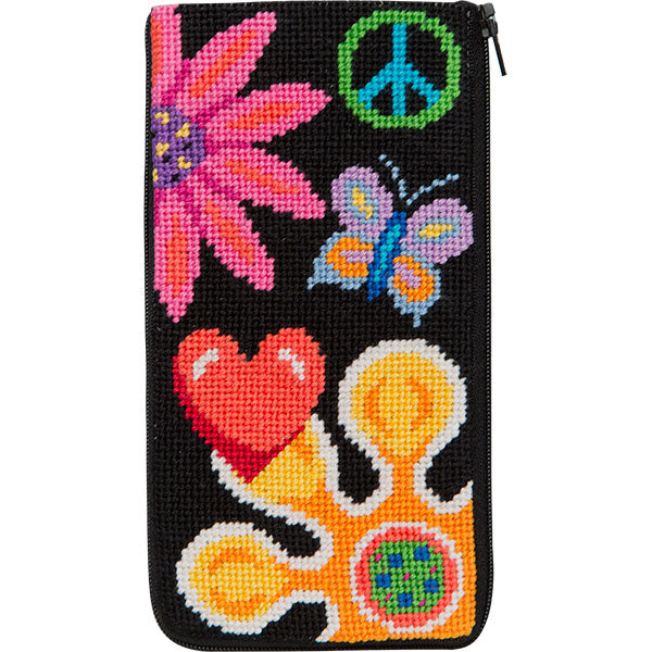 Fun Floral Eyeglass Case Kit-Needlepoint Canvas-Alice Peterson-KC Needlepoint