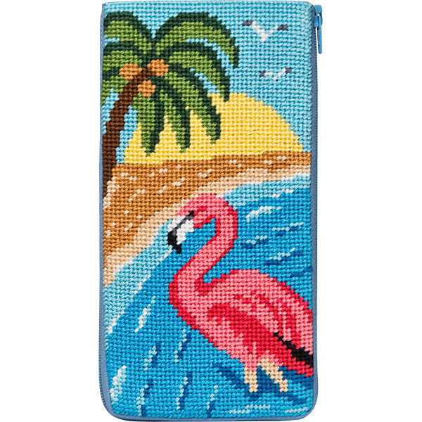 Flamingo Eyeglass Case Kit-Needlepoint Canvas-Alice Peterson-KC Needlepoint
