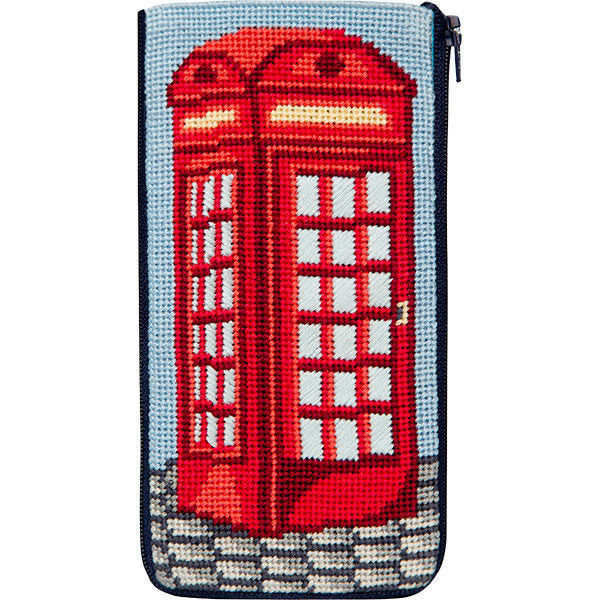English Phone Booth Eyeglass Case Kit - needlepoint