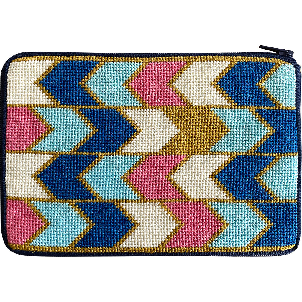 Geometric Arrows Cosmetic Purse Kit-Needlepoint Kit-KC Needlepoint