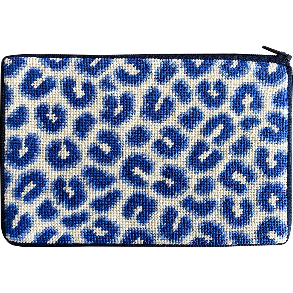 Navy Leopard Cosmetic Purse Kit - needlepoint