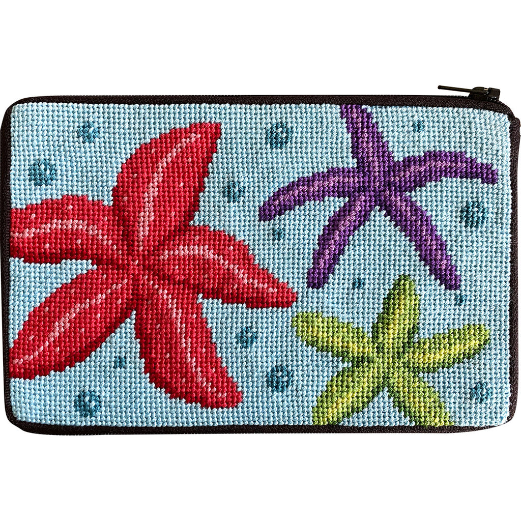 Starfish Cosmetic Purse Kit-Needlepoint Kit-KC Needlepoint