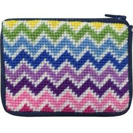 Kids Coin Case Kit-Needlepoint Canvas-Alice Peterson-Chevron-KC Needlepoint