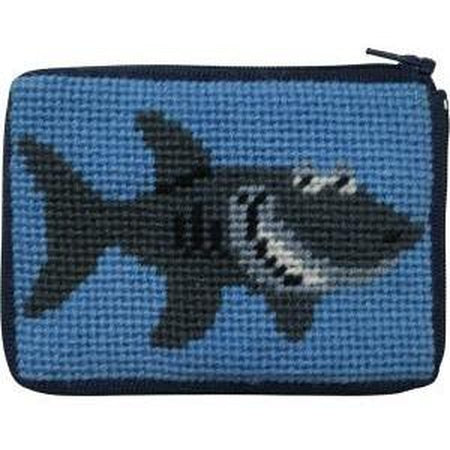 Kids Coin Case Kit-Needlepoint Canvas-Alice Peterson-Shark-KC Needlepoint
