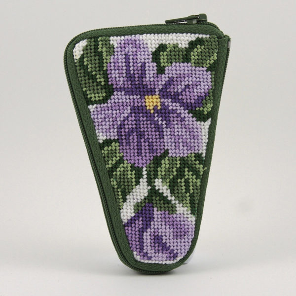 Sweet Violets Scissors Case Kit - needlepoint