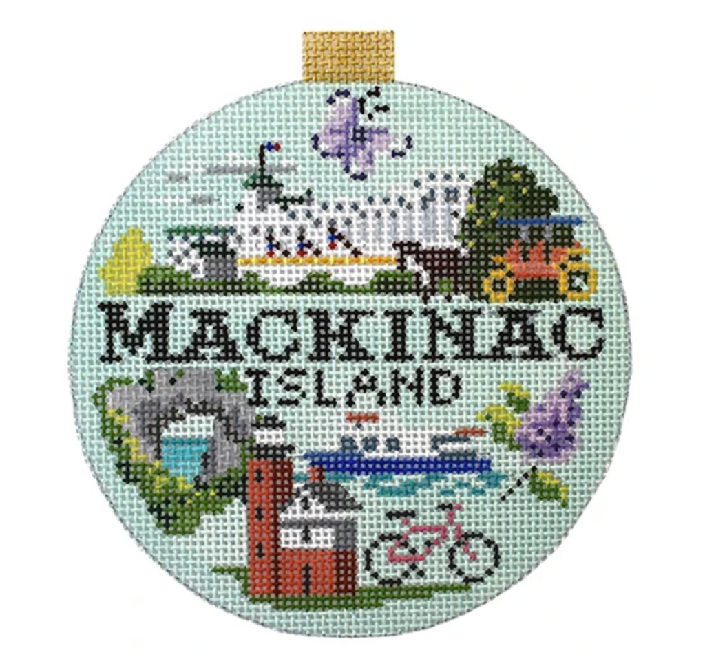 Mackinac Island Travel Round Needlepoint Canvas-Needlepoint Canvas-KC Needlepoint