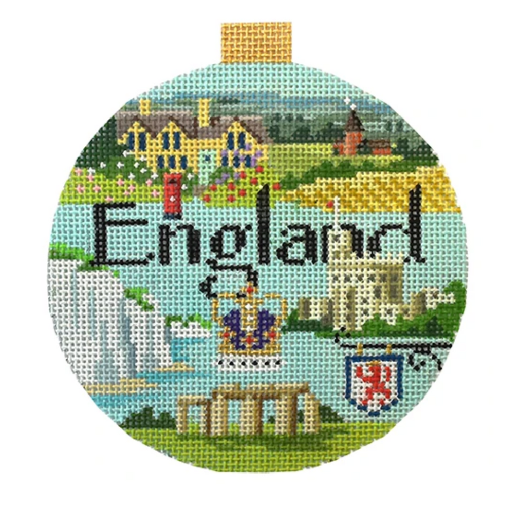 England Travel Round Needlepoint Canvas - needlepoint