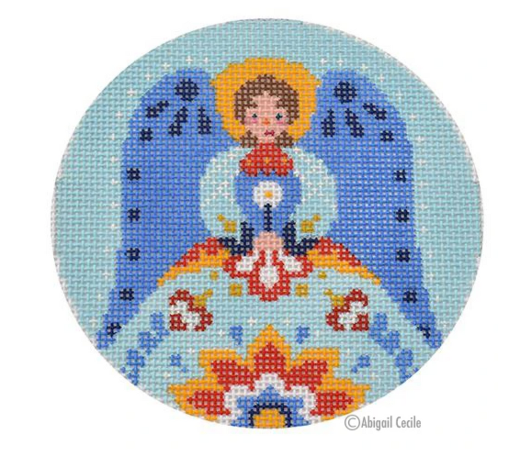 Folk Angel Round Canvas-Needlepoint Canvas-KC Needlepoint