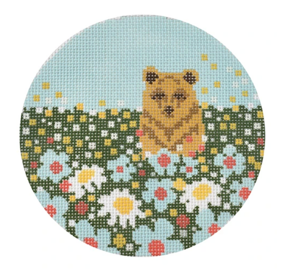 Daisy Bear Round Canvas