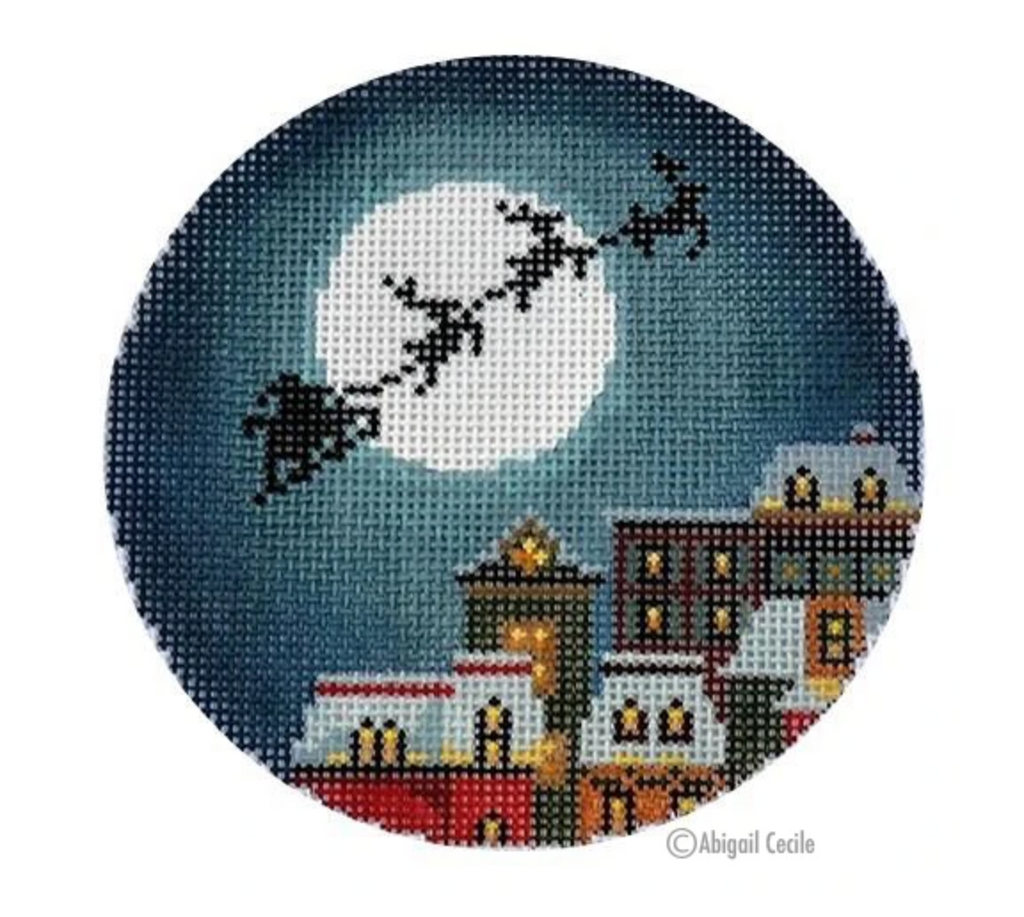 Christmas Eve Town Ornament Canvas-Needlepoint Canvas-KC Needlepoint
