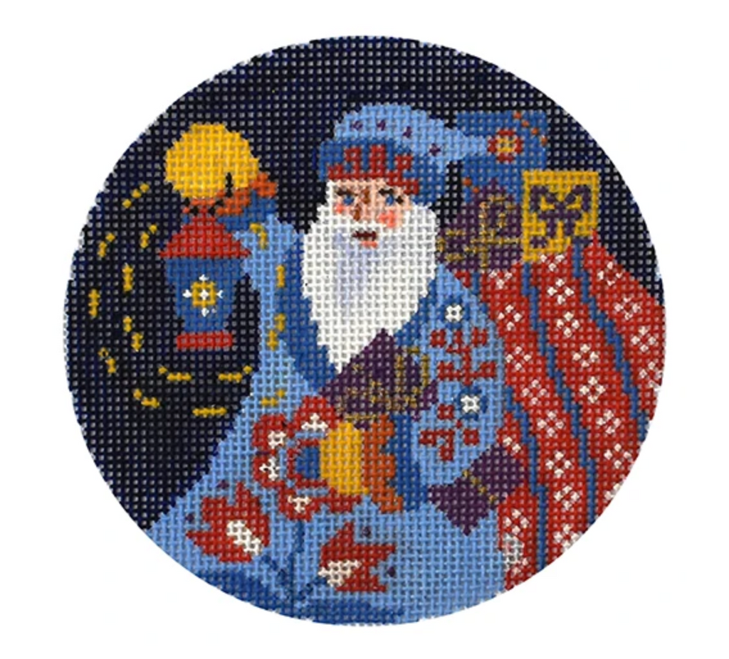 Folk Santa with Lantern Ornament Canvas-Needlepoint Canvas-KC Needlepoint