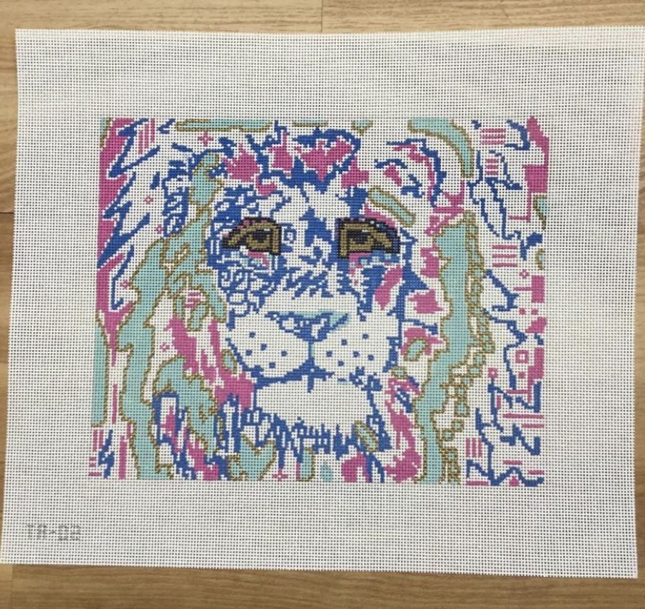 Lily the Lion Needlepoint Canvas - KC Needlepoint