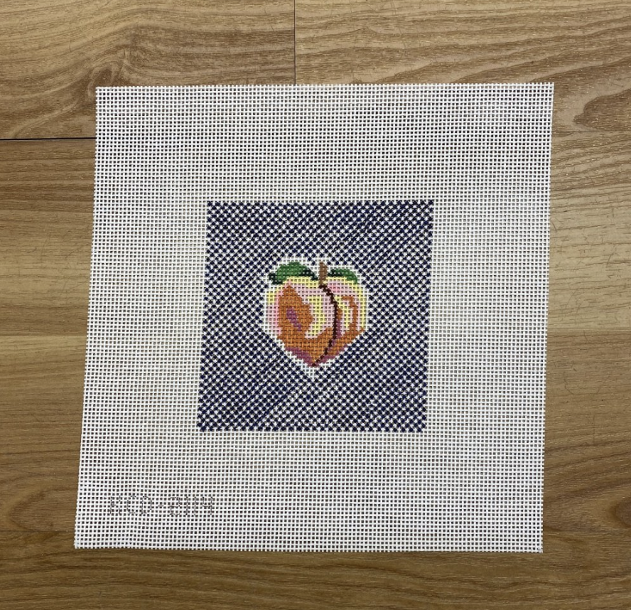 Peach on Blue Square-Needlepoint Canvas-KC Needlepoint