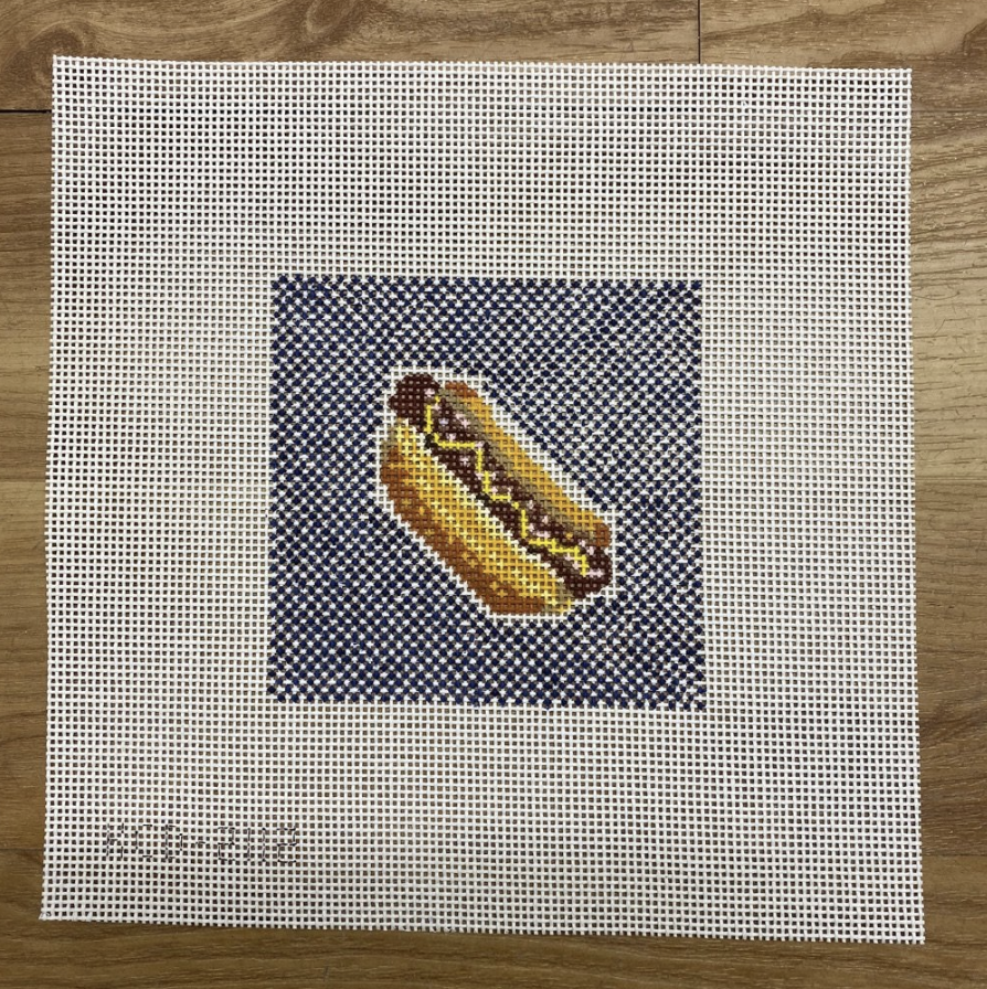 Hot Dog on Blue Square - KC Needlepoint