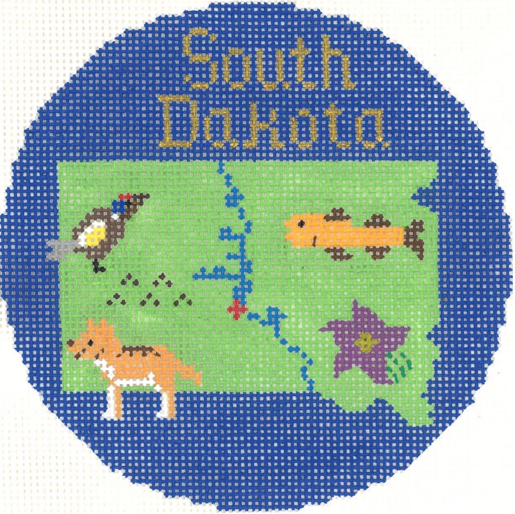 "South Dakota 4"" Travel Round Ornament Canvas - needlepoint"