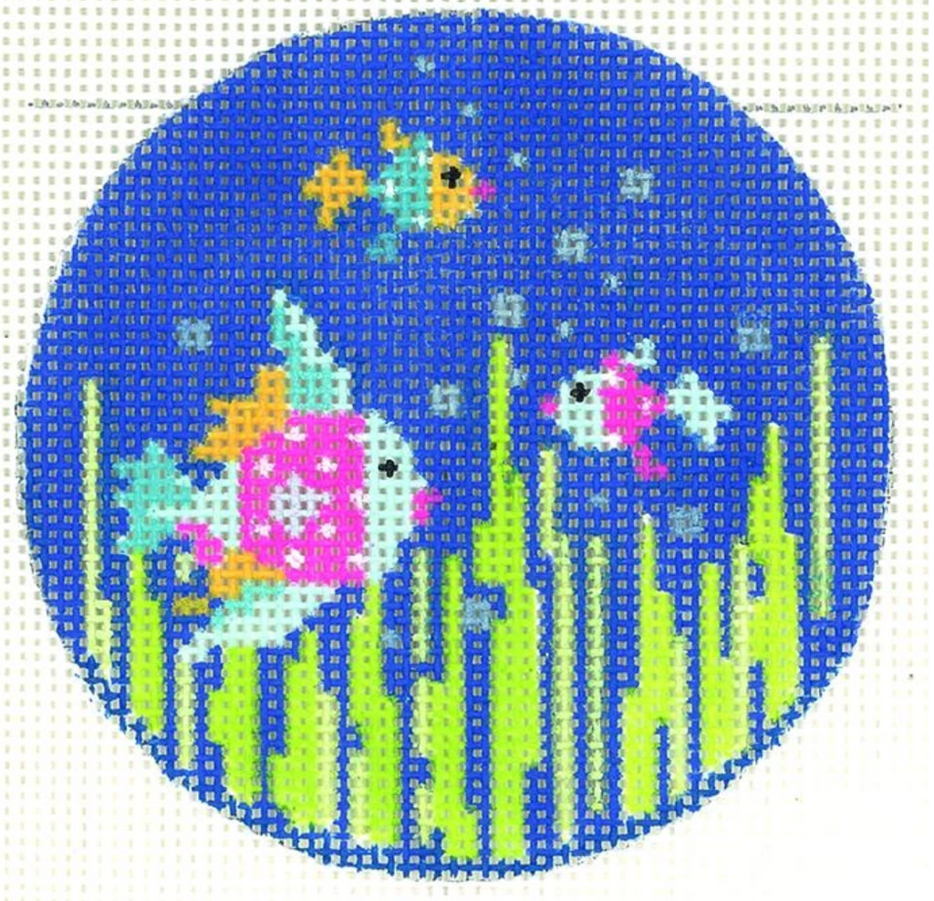 Fancy Fish Round Canvas - needlepoint