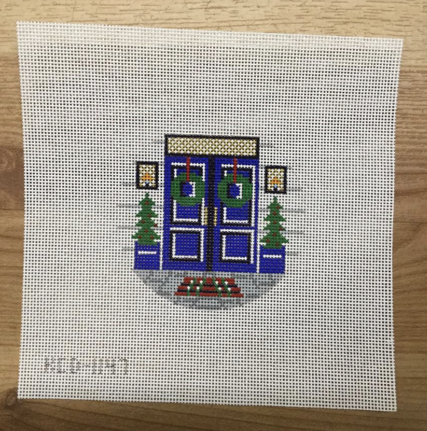 Christmas Front Door Round Canvas - KC Needlepoint