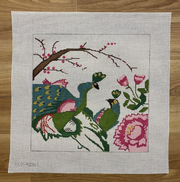Peacocks in Love Small-Needlepoint Canvas-KC Needlepoint