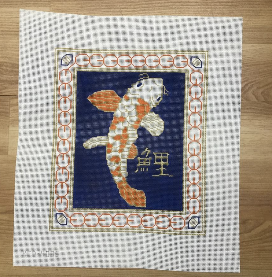 Koi on Blue Canvas - needlepoint