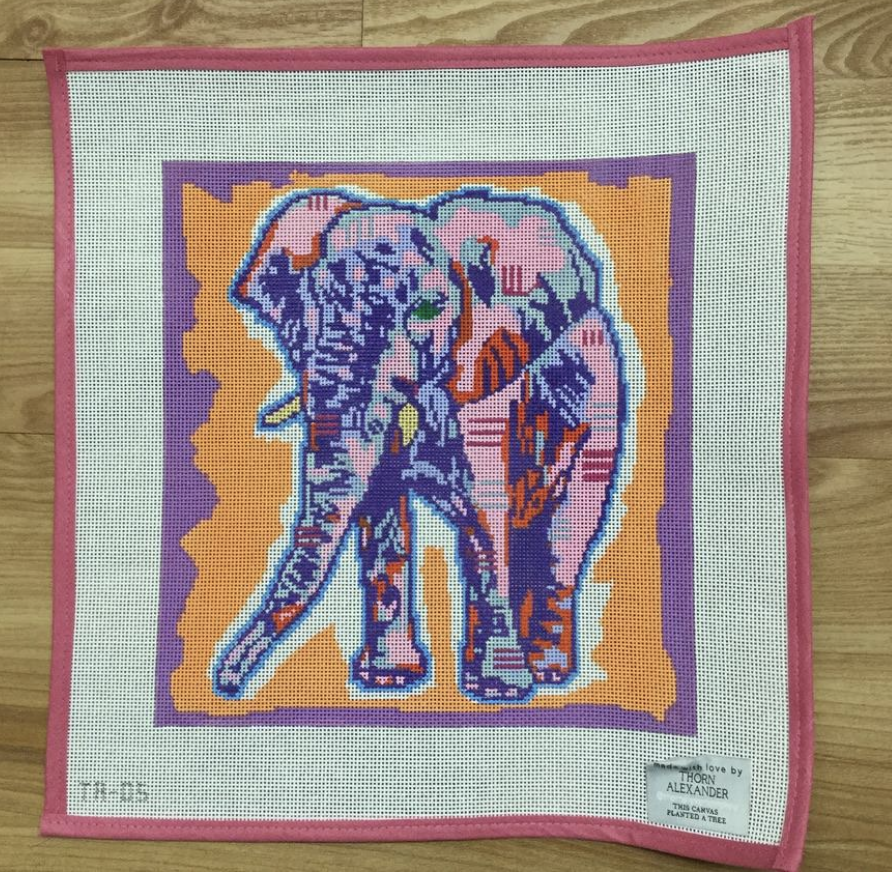 Eleanor the Elephant Needlepoint Canvas - needlepoint