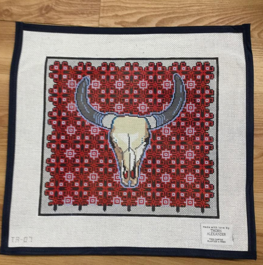 Red Longhorn Canvas - needlepoint
