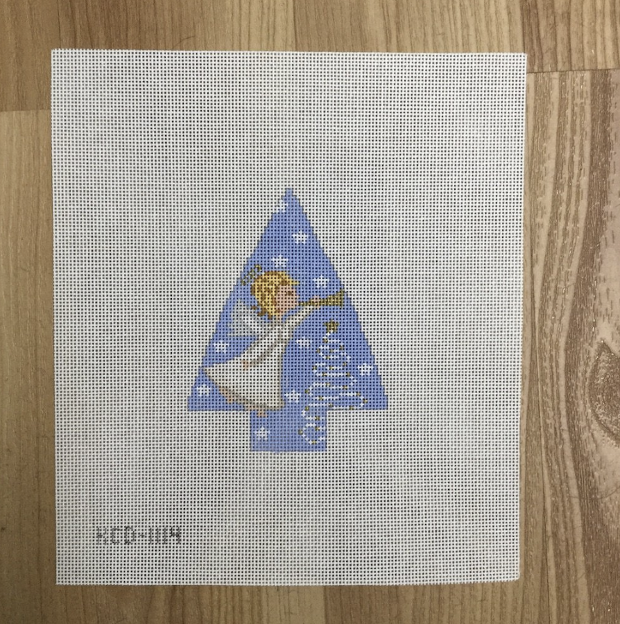 Angel on Tree Canvas-Needlepoint Canvas-KC Needlepoint