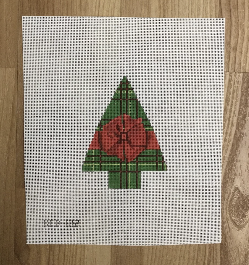 Green Plaid with a Red Bow Tree Canvas - needlepoint