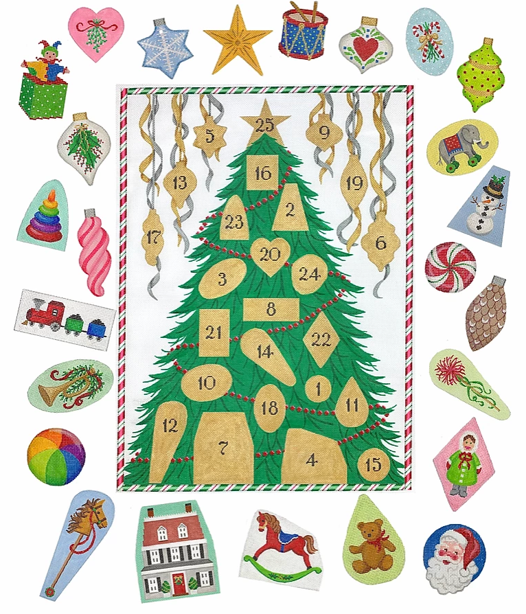Advent Calendar Christmas Tree Needlepoint Canvas