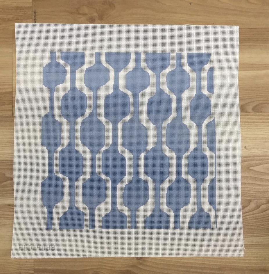 Blue and White Geometric Canvas