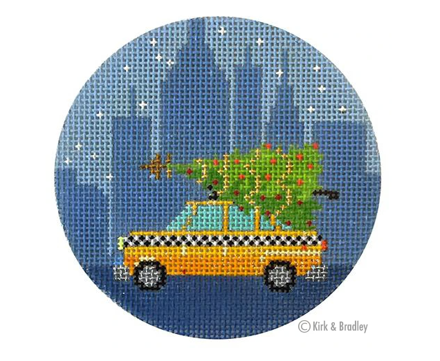 Christmas in NY-Taxi Cab Canvas-Needlepoint Canvas-KC Needlepoint