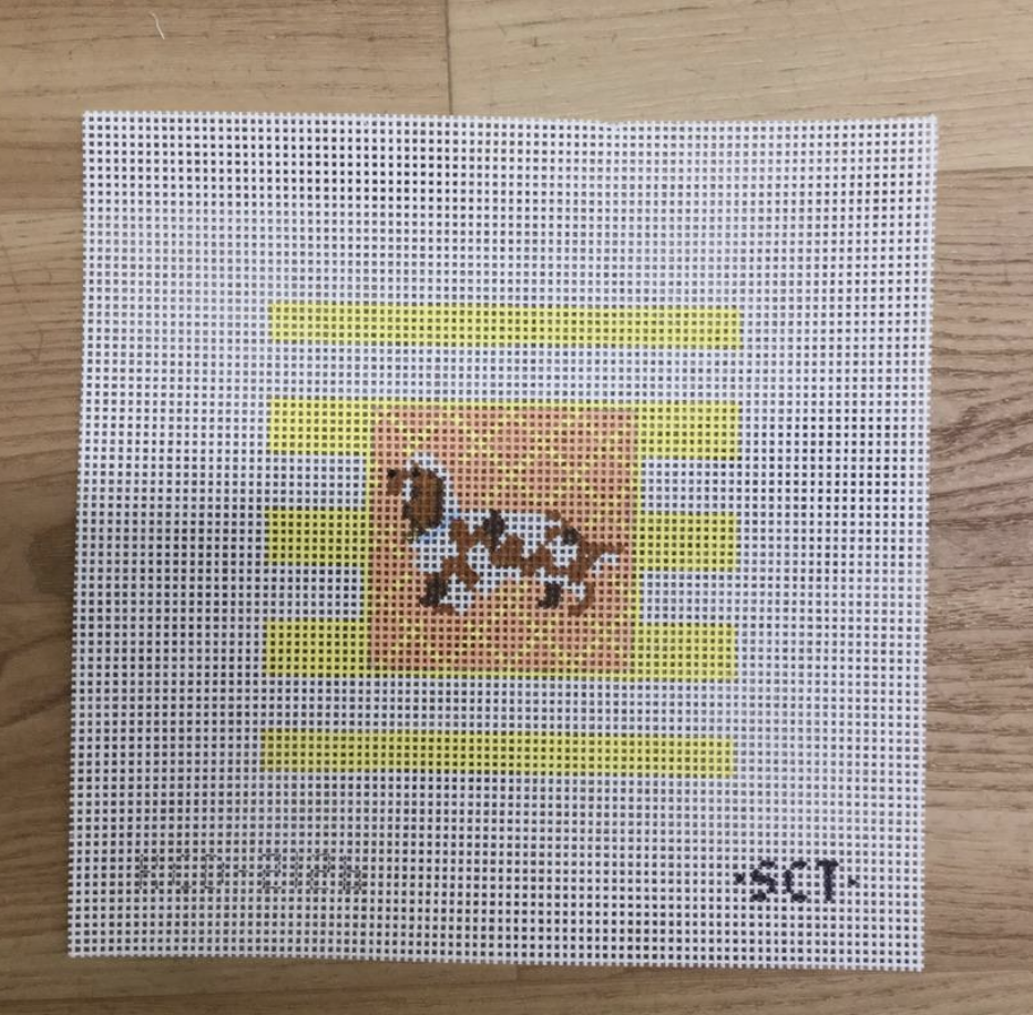 Spaniel on Stripes Square - needlepoint