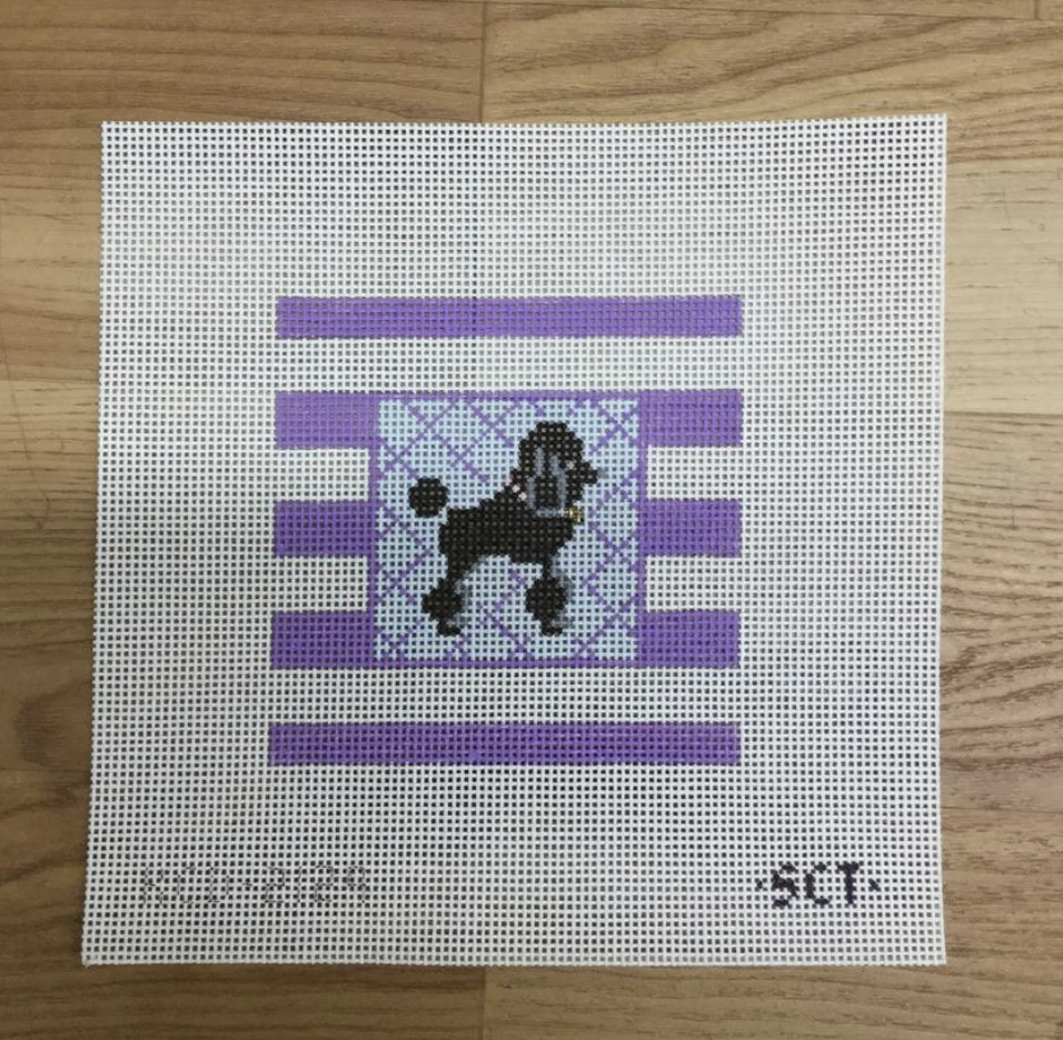 Poodle on Stripes Square - needlepoint