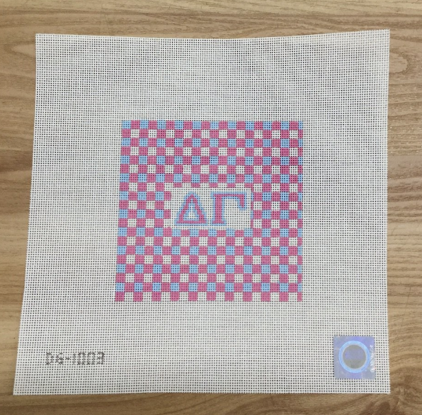 Delta Gamma Gingham Square Canvas - needlepoint
