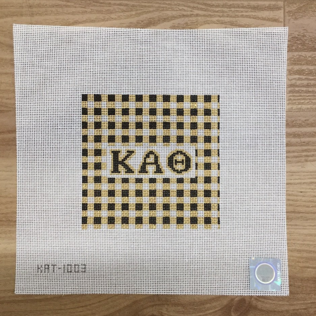 Kappa Alpha Theta Gingham Square Canvas - needlepoint