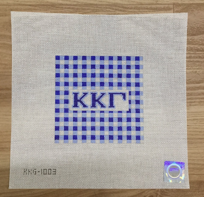 Kappa Kappa Gamma Gingham Square Canvas - needlepoint